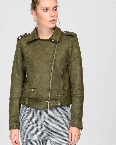 Кожаная куртка весенняя зеленая Ltb