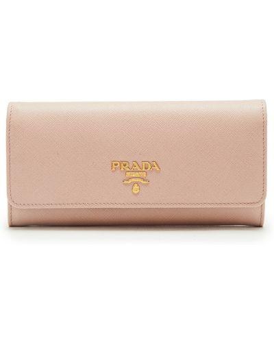 Кожаный кошелек для монет на молнии золотой Prada