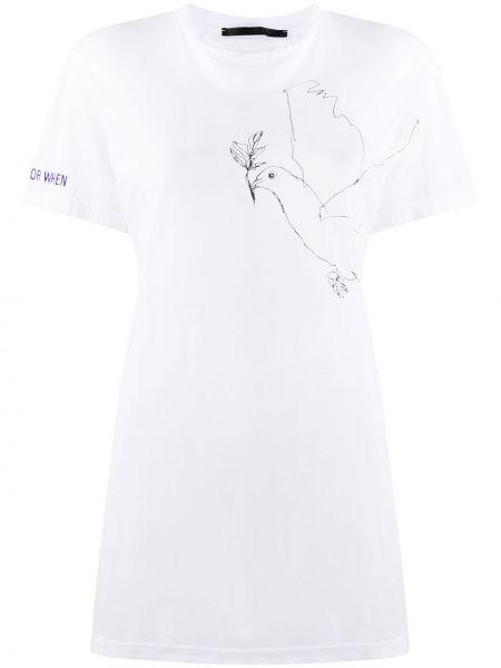 Хлопковая белая футболка с круглым вырезом с короткими рукавами Haider Ackermann