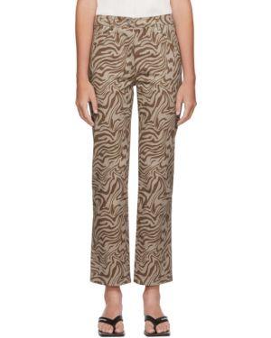 Прямые серебряные прямые джинсы стрейч Miaou