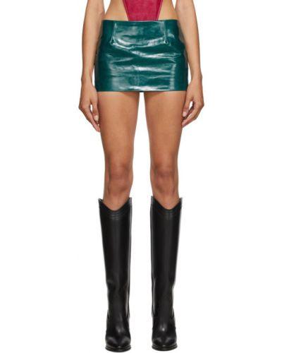 Zielona spódnica skórzana Mowalola