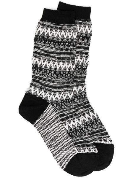 Вязаные черные шерстяные носки с вышивкой Missoni