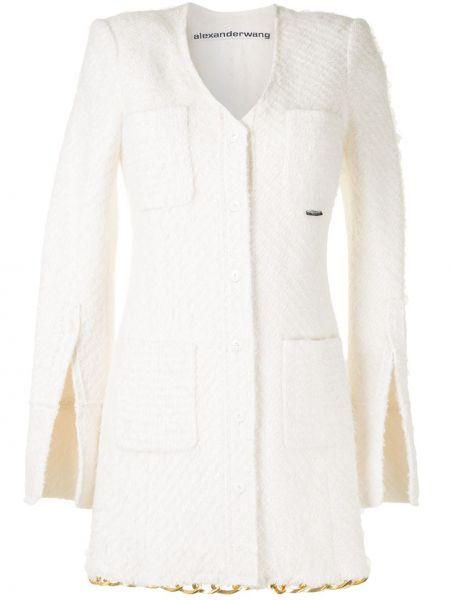 Akryl biały długa kurtka z kieszeniami z długimi rękawami Alexander Wang