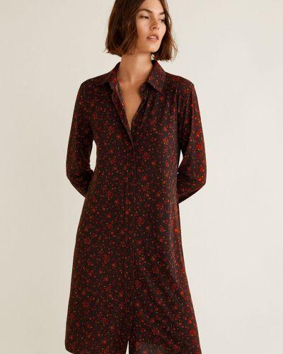Платье мини на пуговицах с длинными рукавами Mango