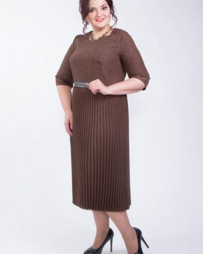 Коричневое деловое платье Wisell