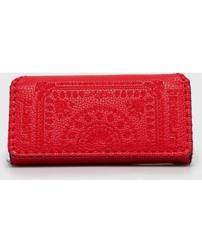 Кожаный кошелек на молнии красный Desigual