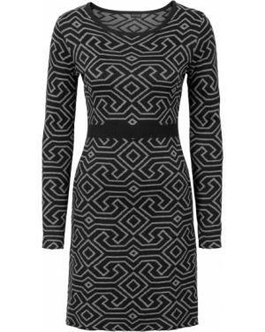 Платье с поясом вязаное с длинными рукавами Bonprix