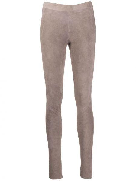 Кожаные облегающие серые брюки на молнии Incentive! Cashmere