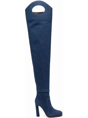 Синие кожаные сапоги на шпильке на каблуке Burberry