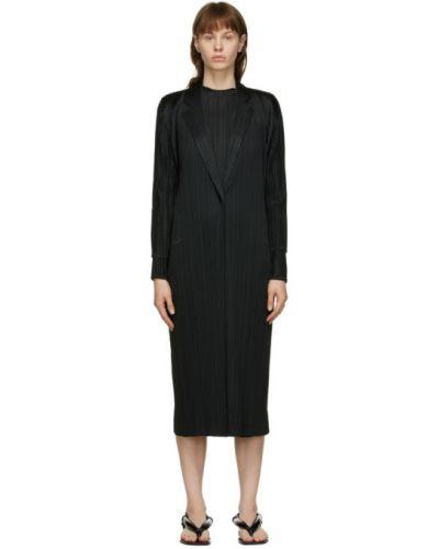 Черное длинное пальто с воротником с лацканами Pleats Please Issey Miyake