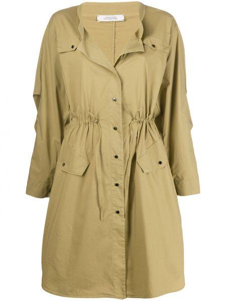 Коричневое длинное пальто с поясом на пуговицах Dorothee Schumacher