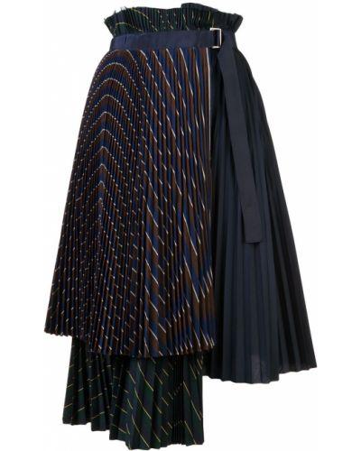 Плиссированная юбка миди многоярусная Sacai