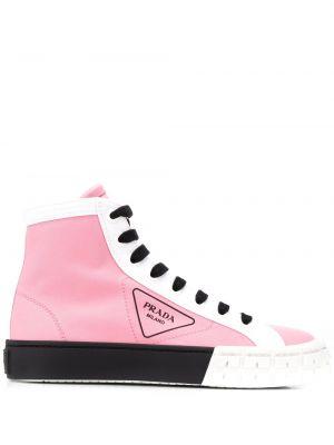 Высокие кроссовки с логотипом на шнуровке Prada