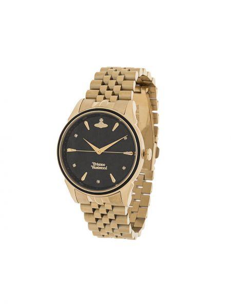 Золотистые кварцевые часы золотые круглые Vivienne Westwood