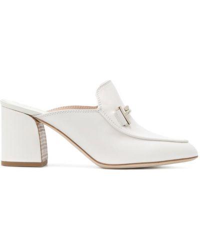 Белые кожаные мюли Tods
