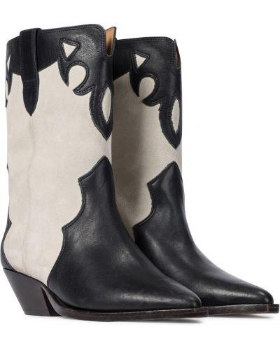 Czarny kowboj buty z prawdziwej skóry Isabel Marant
