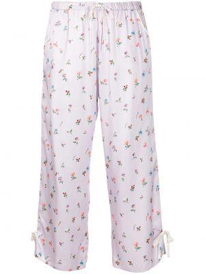 Шелковые укороченные брюки с принтом Morgan Lane