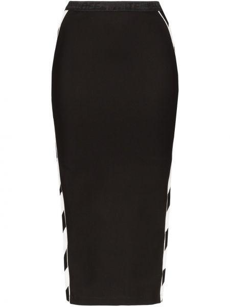 Черная с завышенной талией юбка карандаш с разрезом с поясом Off-white