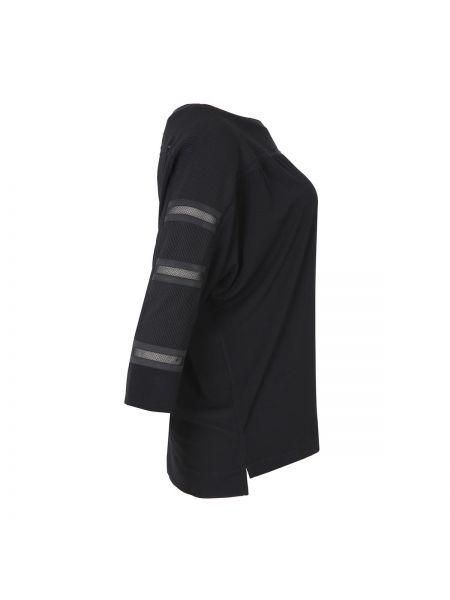 Черная блузка из фатина оверсайз с круглым вырезом Mat Fashion