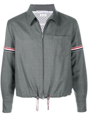 Серая с рукавами классическая рубашка в полоску Thom Browne