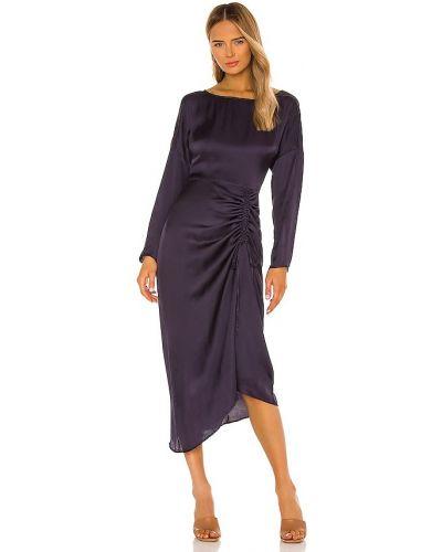 Światło sukienka midi z długimi rękawami z zamkiem błyskawicznym z wiskozy L'academie