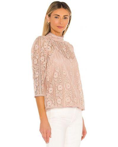 Różowa bluzka koronkowa w paski Bcbgmaxazria
