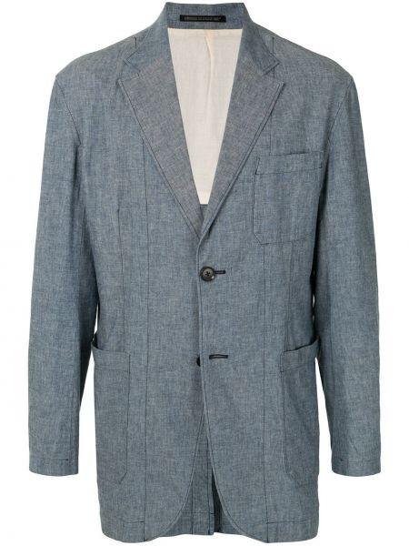 Синий пиджак на пуговицах с манжетами с карманами Yohji Yamamoto Pre-owned