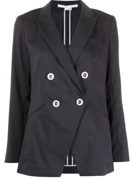 Хлопковая синяя длинная куртка двубортная Veronica Beard