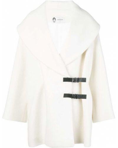 Прямое шерстяное белое пальто Lanvin