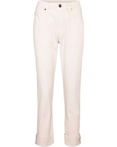 Хлопковые бежевые прямые джинсы Brunello Cucinelli