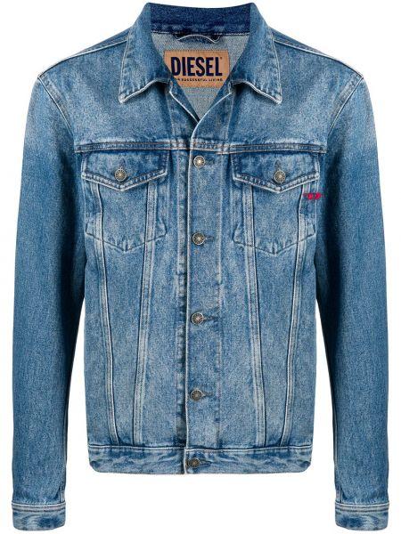 Синяя джинсовая куртка с вышивкой с воротником Diesel