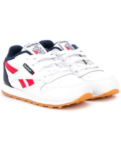 Кожаные белые кроссовки с заплатками на шнуровке Reebok Kids