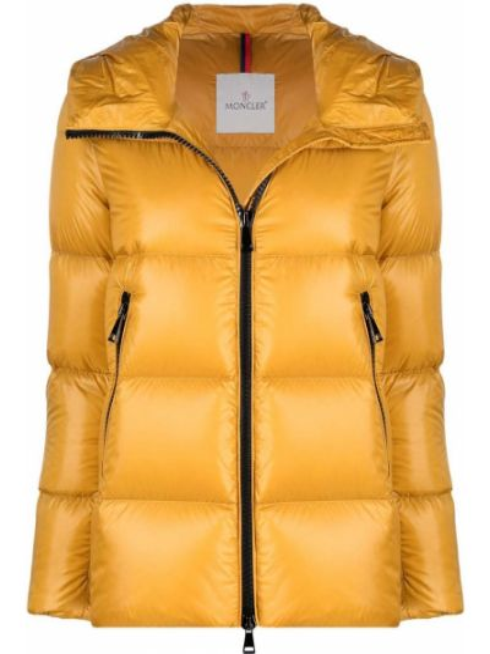Z rękawami żółty długa kurtka z kapturem z łatami Moncler