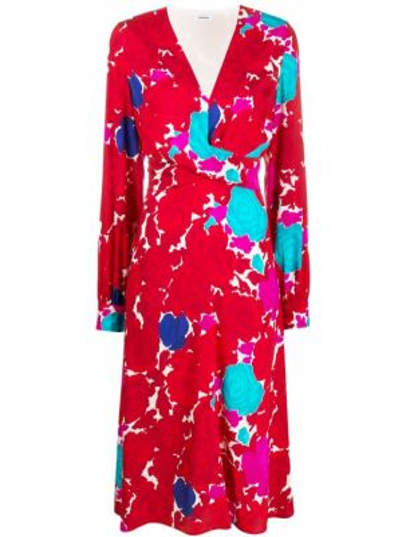 Шелковое красное платье миди с запахом P.a.r.o.s.h.