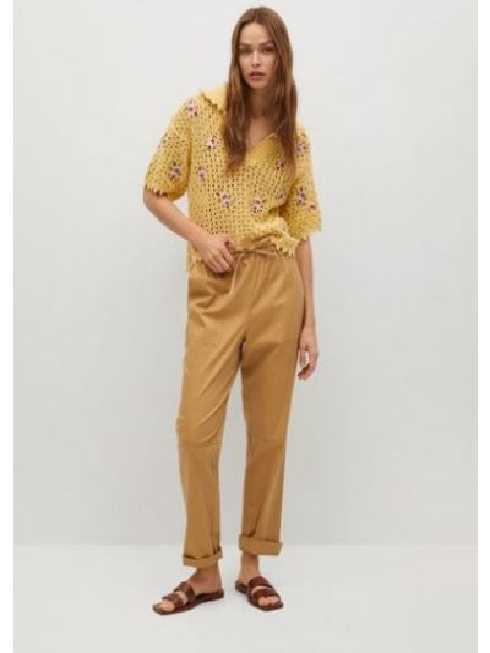 T-shirt materiałowa - żółta Mango