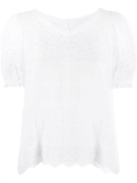 Белая блузка с вышивкой на пуговицах с вырезом Loveshackfancy
