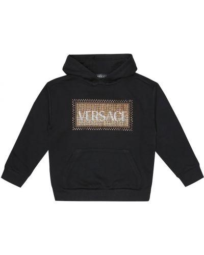Bawełna bawełna czarny bluza z kapturem zabytkowe Versace Kids