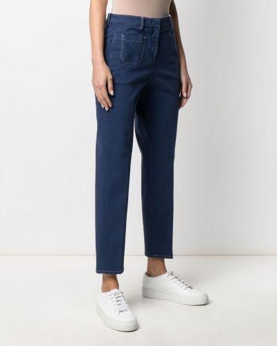 Прямые синие укороченные джинсы с карманами Incotex