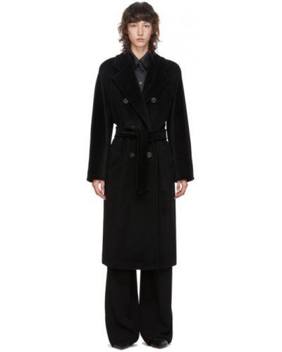 Черное шерстяное длинное пальто с поясом с воротником Max Mara