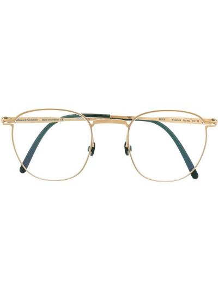 Oprawka do okularów złoto okrągły metal Haffmans & Neumeister
