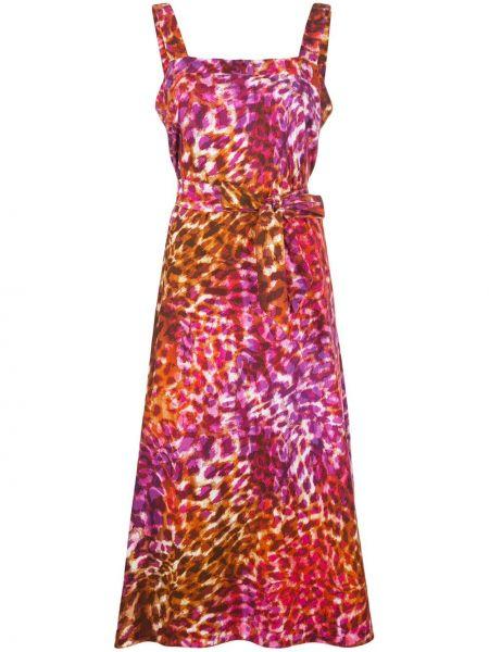 Красное платье без рукавов с вырезом квадратное Natori