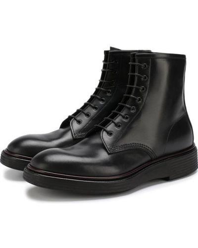 Ботинки на шнуровке кожаные высокие Premiata