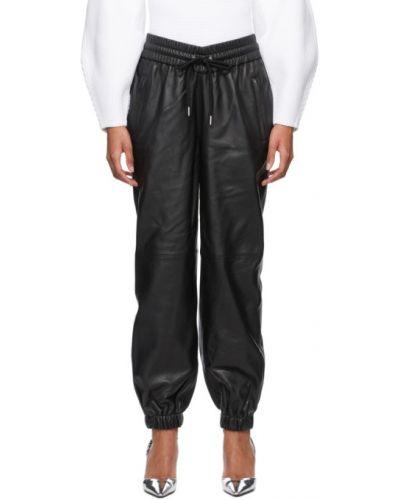 Czarne spodnie skorzane z siateczką Alexander Wang