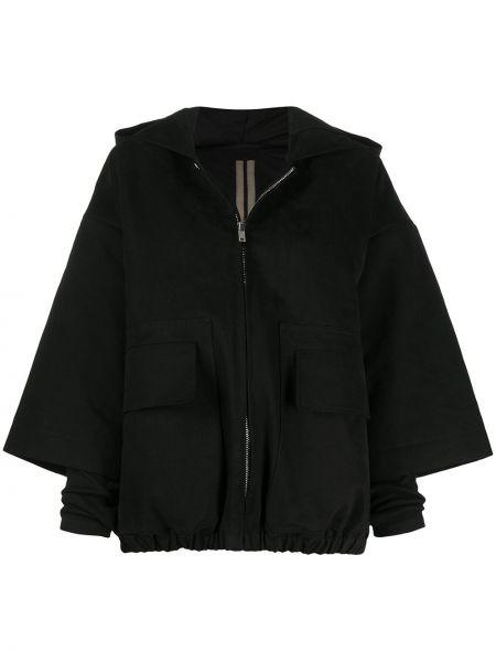 Akryl czarny kurtka z kapturem z kieszeniami z długimi rękawami Rick Owens