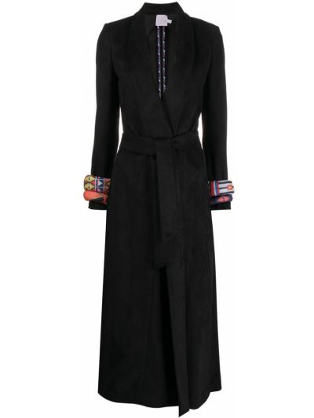 Черное длинное пальто с вырезом из вискозы с лацканами Stella Jean