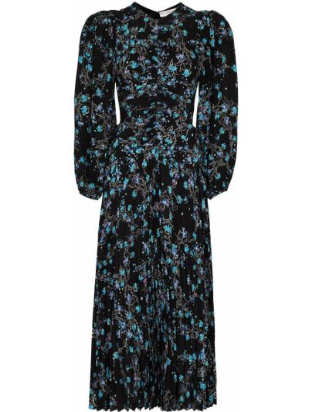 Jedwab czarny sukienka midi z mankietami okrągły dekolt Givenchy