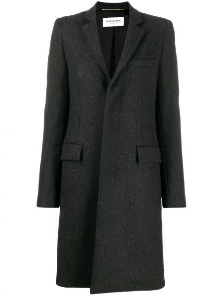 Серое шерстяное длинное пальто с капюшоном Saint Laurent