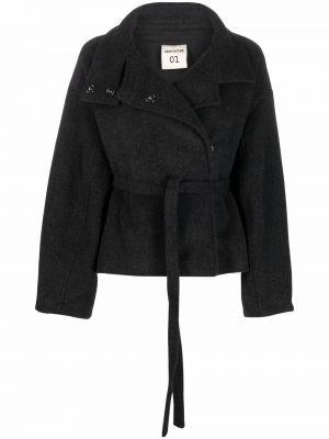 Черное пальто с воротником Semicouture