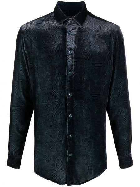Шелковая синяя с рукавами рубашка Giorgio Armani