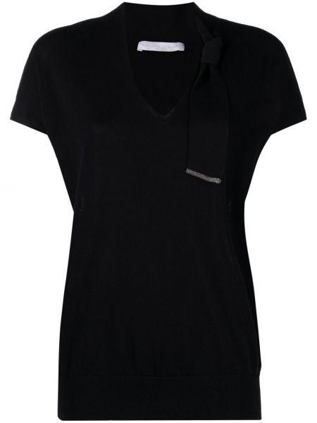 Прямая черная футболка с вырезом Fabiana Filippi